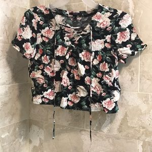 F21 floral lace-up cropped blouse
